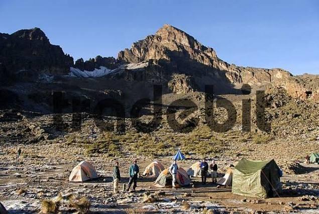 Mawenzi Tarn Camp with Mawenzi summit Kikelewa Route Kilimanjaro Tanzania