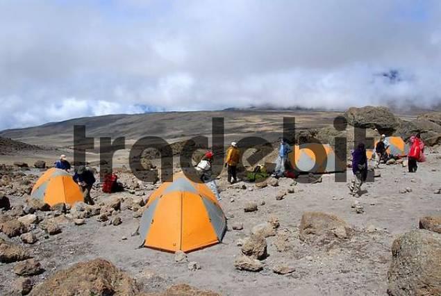 Group of trekkers with tents at School Hut Camp Kikelewa Route Kilimanjaro Tanzania