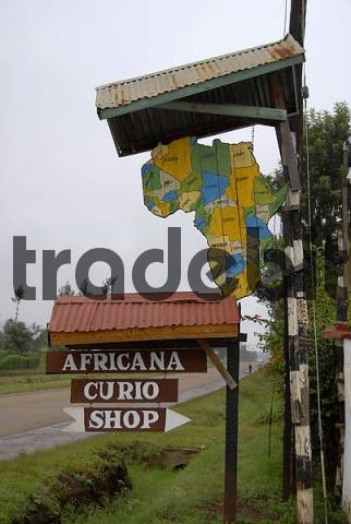 Sign Africana Curio Shop With Map Of Africa Noth Of