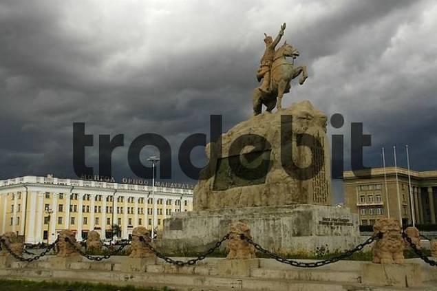 Monument on Sukhbaatar sqare Ulaan Baatar Mongolia