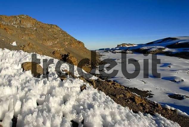 Stufengletscher glacier crater rim with Uhuru Peak 5895 m Kilimanjaro Tanzania