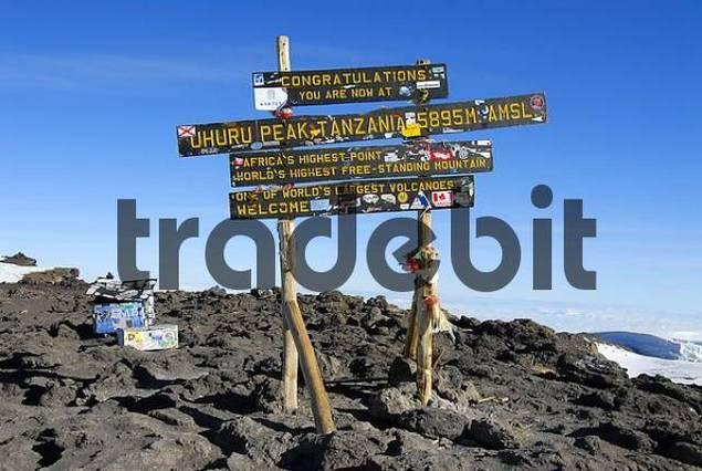 Sign on the summit Uhuru Peak 5895 m crater rim Kilimanjaro Tanzania