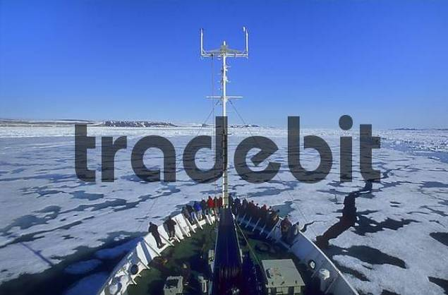 ice breaker on Hinlopenstreet, Spitsbergen, Svalbard, Norway, Arctic
