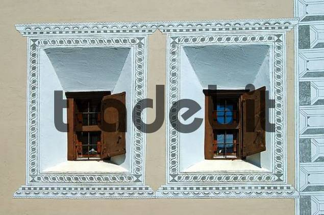 Windows of a typical Engadine house, Engadin, Switzerland