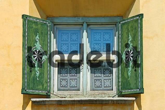 Windows of a typical Engadine house, Engadin, Switzerland