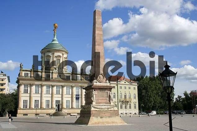 old town hall with obelisk at the alte markt potsdam brandenburg. Black Bedroom Furniture Sets. Home Design Ideas