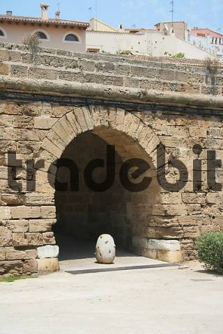 Old town wall in the historic old part of Palma de Mallorca, Spain