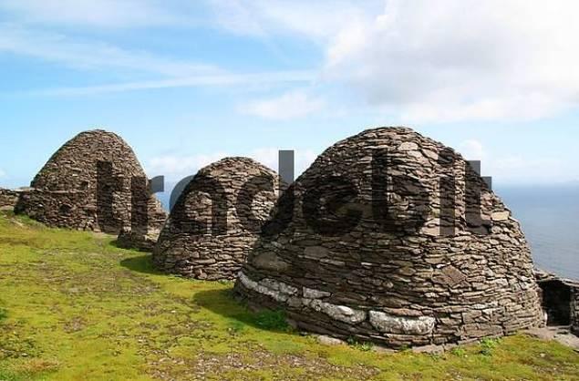 Stone houses in the monk settlement on Skellig Michael, Ireland