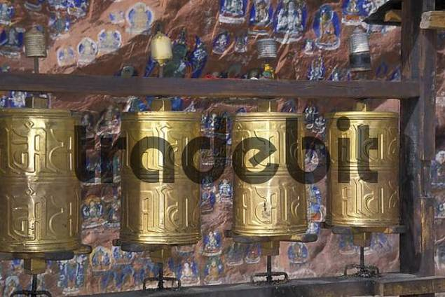 Gold-colored Prayer wheels wheel in Tibet