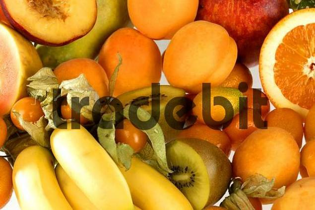 assorted orange fruit on white background