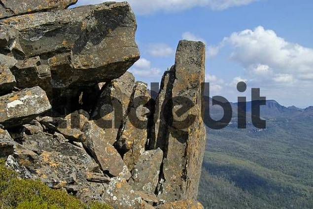 rocky summit of Mt Pelion East on Overland Track in Cradle Mountain Lake St Clair Nationalpark Tasmania Australia