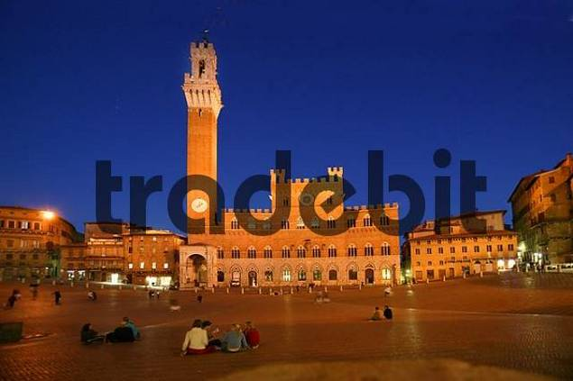 Siena, main square lit at night, Italy