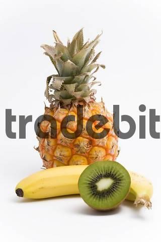 pineapple, banana and kiwi fruit