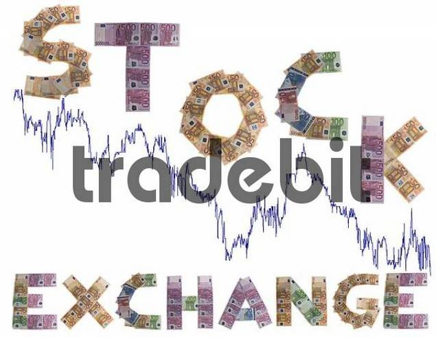 stock exchange, written with bank notes