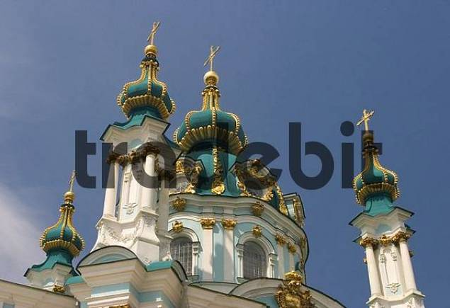 Ukraine Kiev church of holy St. Andreas built 1212 in wood 1744 with stones architect F. Rastrelli blue sky sunshine green domes of the church 2004