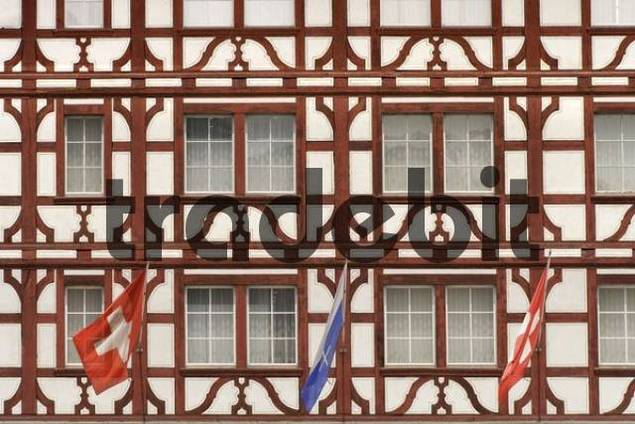 Facade of a timbered house, old town, Lucerne, Switzerland, Europe