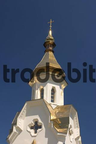 Ukraine Kiev district of Podil church with golden roofs at the habour blue sky 2004