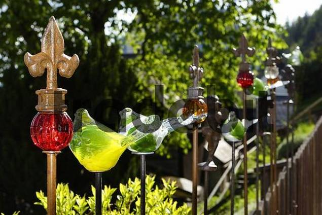 objects made of glass on fence in Pürgg Styria Austria