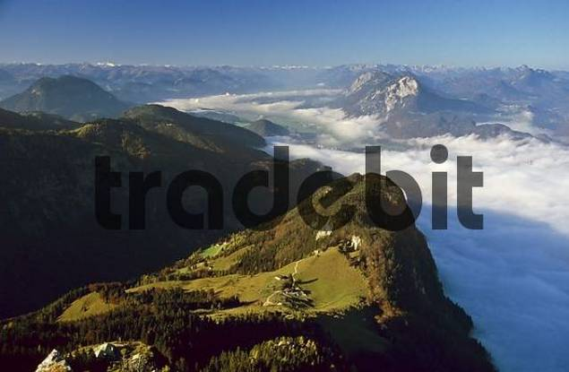 Zehnerkopf and Ritzaualm above Kufstein seen from summit Naunspitze Tyrol Austria