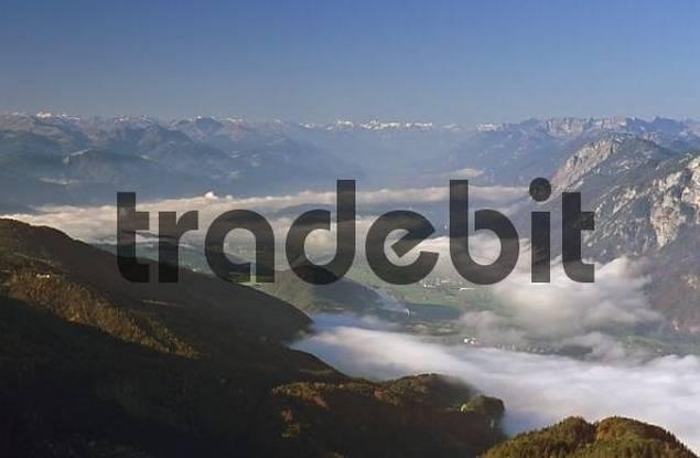 Kufstein valley seen from summit Naunspitze Tyrol Austria