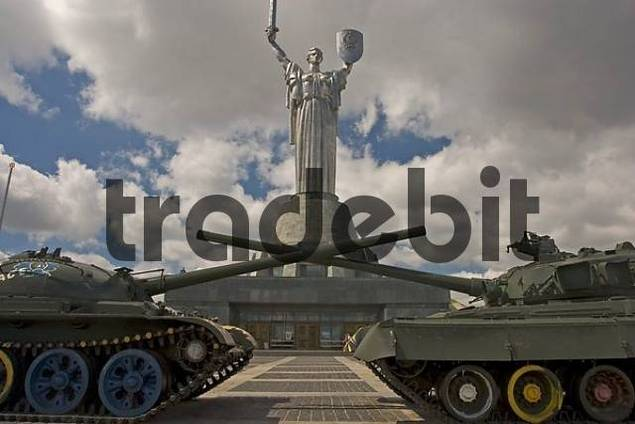 Ukraine Kiev mother of native country monumental memorial 1982 in front of tanks on a big place 2004