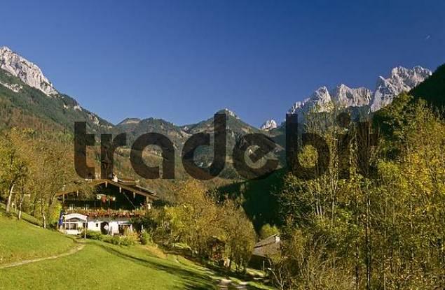 valley Kaisertal seen from inn Veitenhof Tyrol Austria