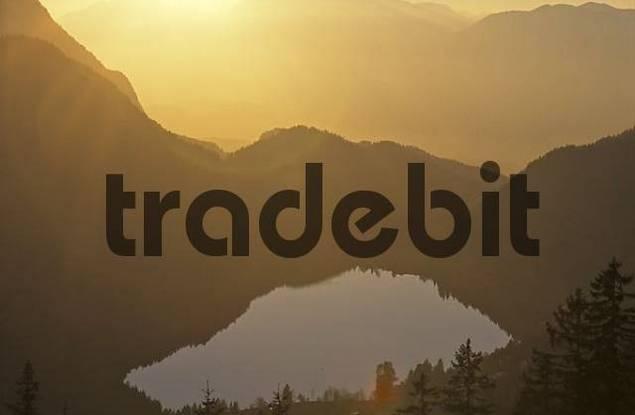 lake Hintersteinersee seen from Steiner Hochalm Tyrol Austria