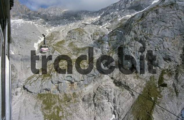 cliffs of mountain Dachstein seen from cable car Styria Austria