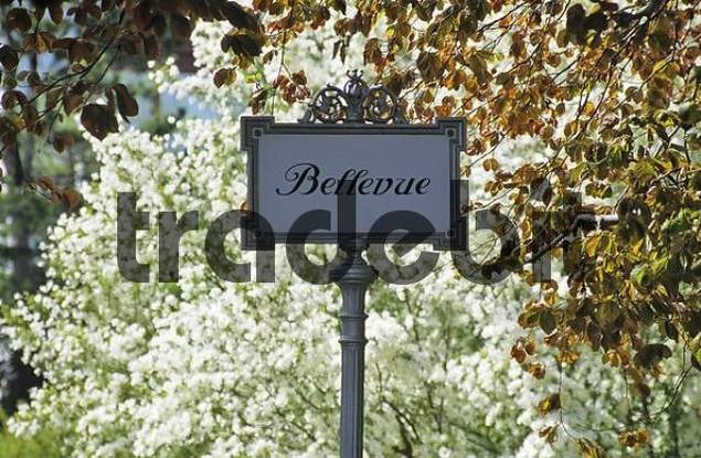 sign Bellevue in front of flowering bush Baden Lower Austria Austria
