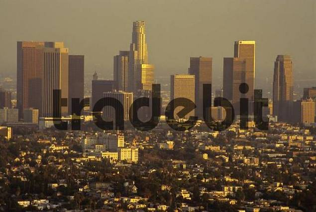Skyline of downtown Los Angeles at dusk, California, USA