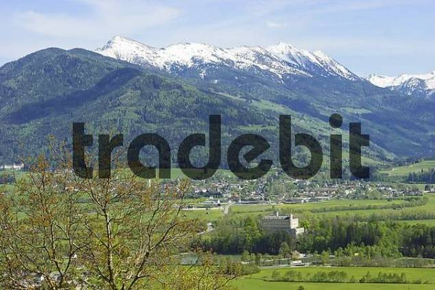 village of Trautenfels and Niedere Tauern seen from Pürgg Styria Austria