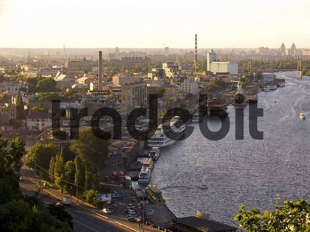 Ukraine Kiev view to a part of the city Podil landing place ships river Dnepr buildings city view at the river Dnepr 2004