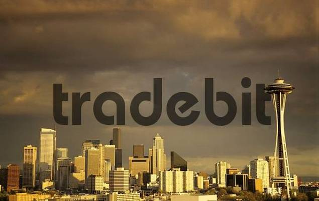 Skyline of Seattle at sunset, USA