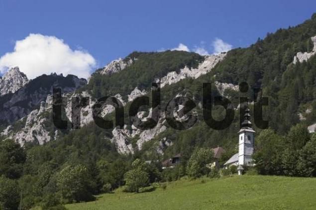 near Trzic Oberkrain Provinz Gorenjska Slovenia at the Ljubelj pass over the Karawanken mountain massif church at the pass