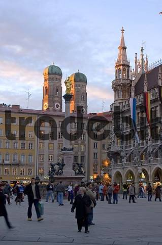 Munich Marienplatz Bavaria Germany the bell towers of the Frauenkirche cathedrale in the last daylight