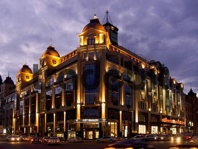 Ukraine Kiev shopping store Mandarine placa near to Bessarabska place at the evening 2004