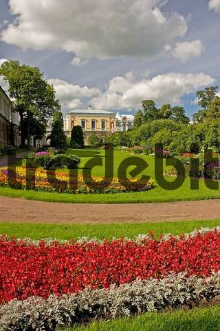 GUS Russia St Petersburg 300 years old Venice of the North Zarskoje Selo Puschkino Palace Park Grounds with Flower bed at the Cameron Galerie with red and yellow Flowers