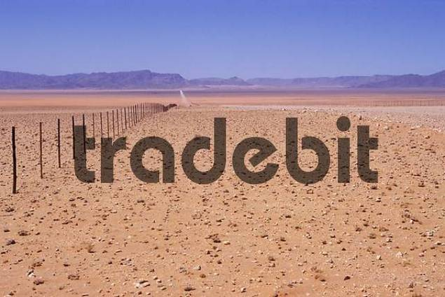 Gravel road and fence Namibia