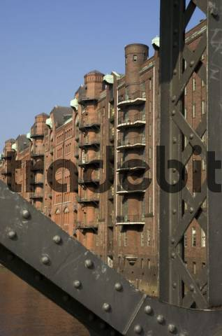 Old warehouses at the Speicherstadt in Hamburg Germany