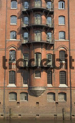 Front of an old warehouse at the Hamburger Speicherstadt Germany