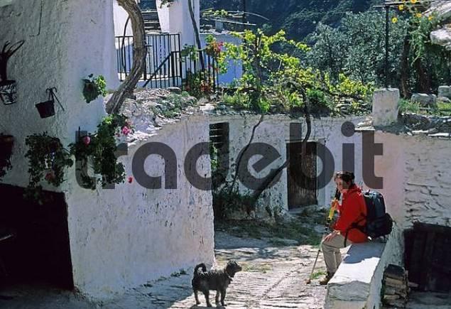 woman an dog Fondales, Alpujarra, Alpujarras,  Andalusia Province Granada Spanien