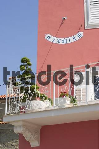 House with sun dial - Piran on the Mediterranean at the Adriatic coast in Slovenia