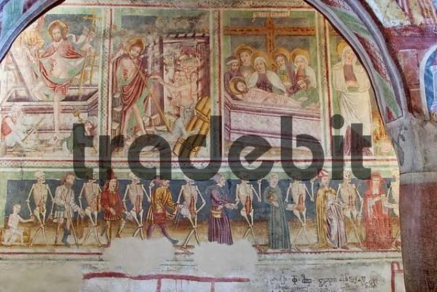 Danse macabre - Frescos in the church Sv. Trojica  Hl. Trinity  in Hrastovlje - painted 1490 by Johannes von Kastav - Slovenia