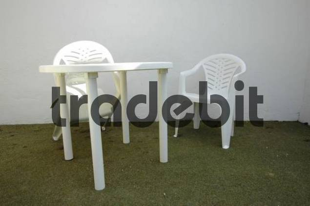 plastic furniture on a terrace