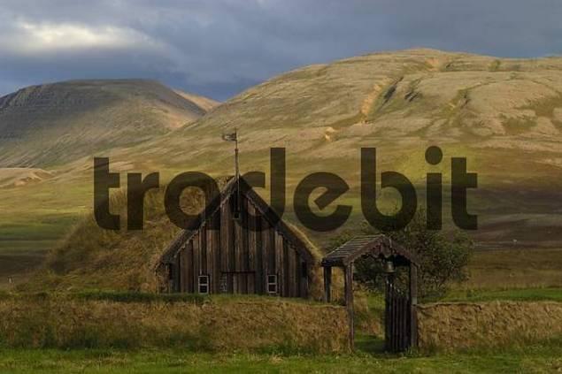 old church Grafarkirkja made of turf near the village Gröf on the Skagi peninsula Iceland