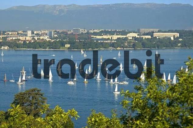 Sailing on Lac Leman Geneva Switzerland
