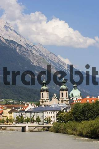 Innsbruck cathedral and Inn river Tyrol Austria