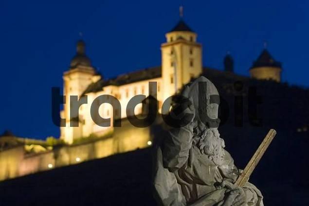 Wuerzburg Würzburg saint Kilian on old bridge and fortress Marienberg Franconia Germany