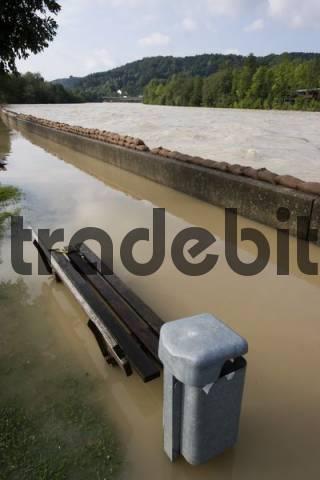 flood water Isar river Bad Tölz Bavaria Germany