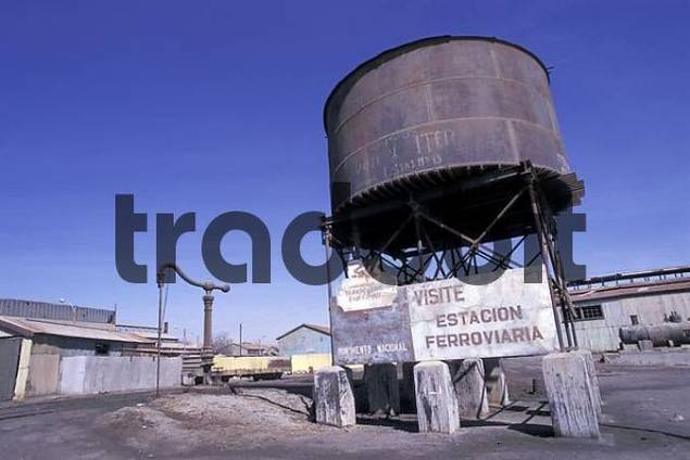 Watertank at the old railway station in Baquedano Chile